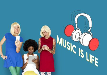 mature adult: Music entertainment headphones icon graphic