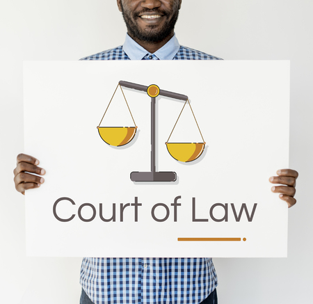 justice scale: Man holding banner of justice scale rights and law illustration