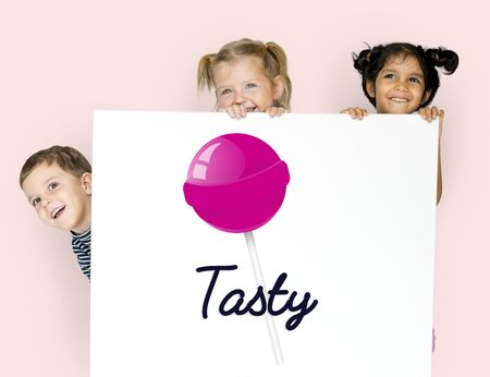 Children with illustration of sweet candy lollipop
