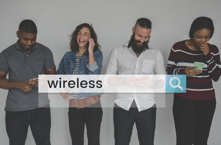 Wireless Internet Connection Search Bar Magnifying Glass Graphic