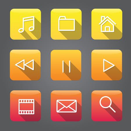 Icon Collection Vector Application Content Concept Ilustrace