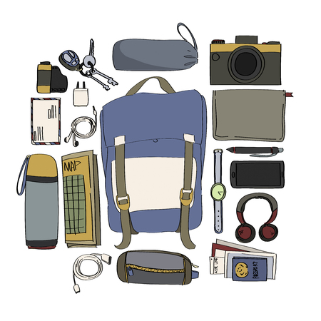Illustration Drawing Travel Pack Collection Illustration