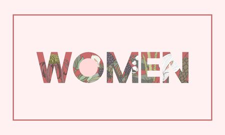 Woman word graphic with floral pattern