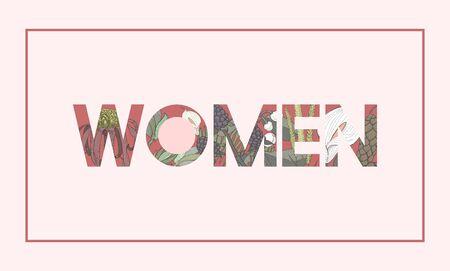 Graphique de mot femme avec motif floral Banque d'images - 81882645