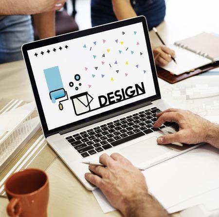 노트북에 창의적인 예술 디자인의 그래픽 스톡 콘텐츠