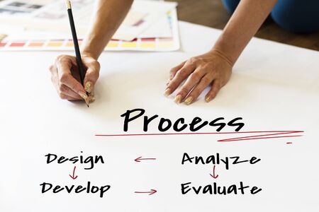evaluate: Work Plan Business Process Graphic Illustration