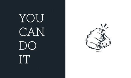 やる気のある願望を持つポインティング指のイラスト