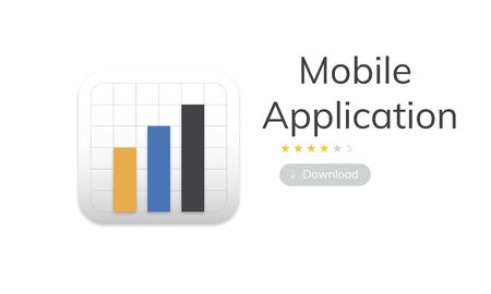 Illustration of mobile application graph download Stock Photo