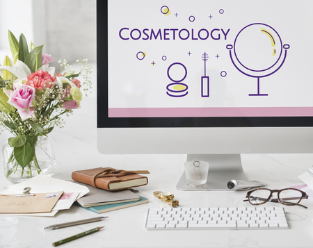 Illustration of beauty cosmetics makeover skincare on computer Banco de Imagens