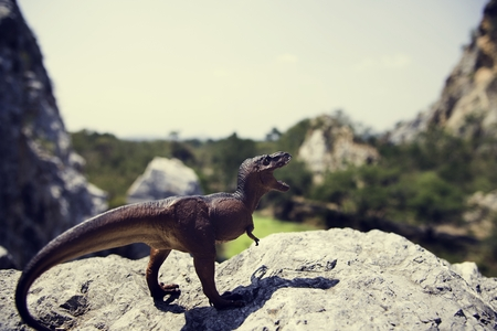 Tyrannosaurus rex jurassic figure toy on the mountain