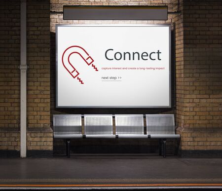 Network connection graphic overlay billboard on wall