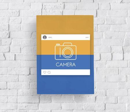 capturing: Placard board with camera icon symbol