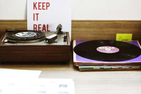 Classic vinyl record music media entertainment Stock Photo