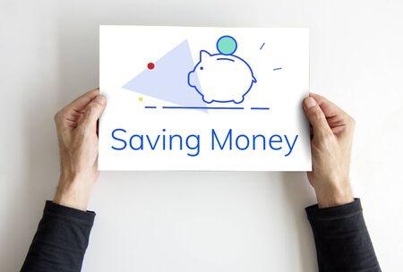 貯金箱のお金節約将来投資 Word グラフィック