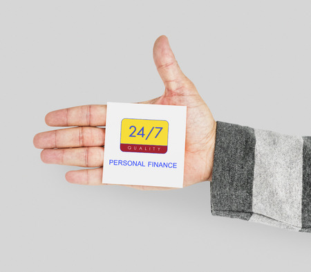 Hand with 247 service note in the palm