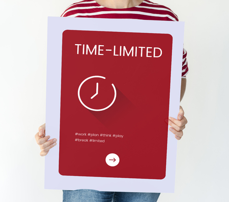 Woman hold a time card concept