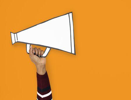 Hand Up Holding megaphone Illustration Stock Photo