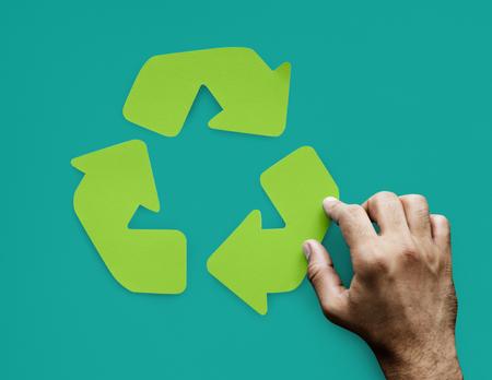 矢印のプロセス接続リサイクル手順 写真素材