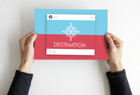 Showing Direction Guide Navigation Route Map Word Graphic Stock Photo