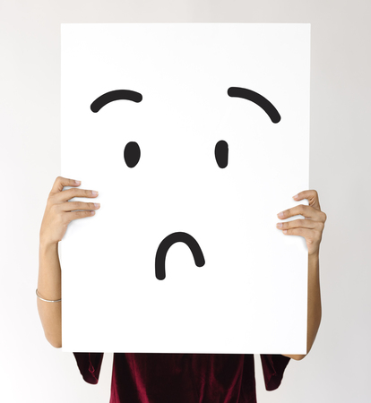 Illustration of confuse stunned face on banner Stock Photo