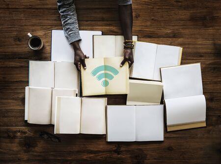 Illustration de la technologie de mise en réseau de connexion wifi Internet Banque d'images - 81953818