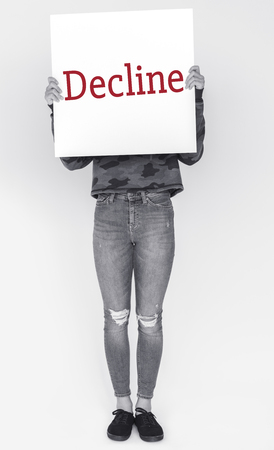 Disapprove rejection decline word on banner