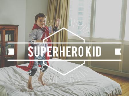 Superhero Kid Young Children Stamp Banner Word Graphic