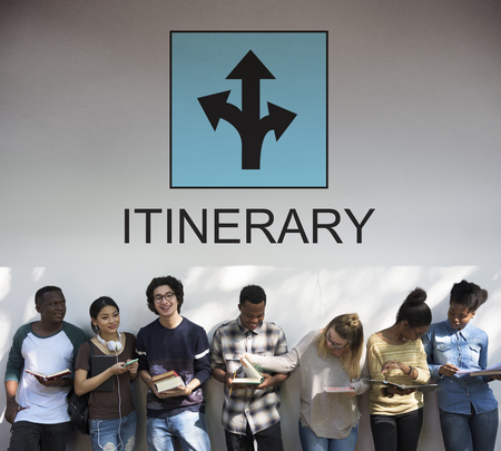 Group of young people with itinerary concept Stock Photo