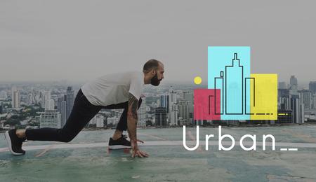 コンクリート ジャングル都市シーン都市生活のイラスト 写真素材