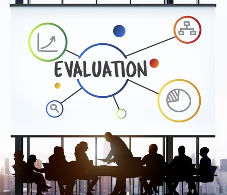 evaluate: Evaluation Assessment Informatiom Illustration Graphics Concept