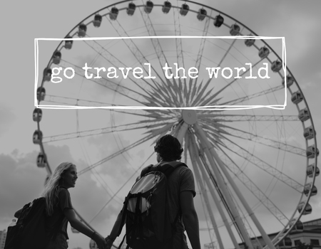 Couple Wander Travel Together Word Stock Photo
