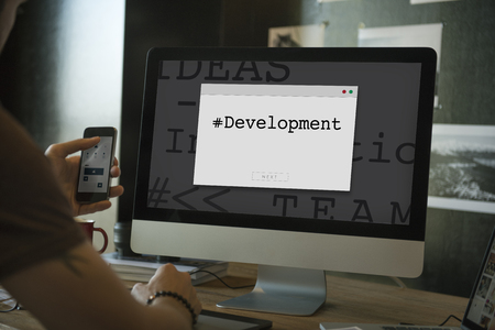Computer Screen with Window Popup Development Word