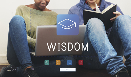 Group of students study literacy academics education mortar board graphic Stock Photo