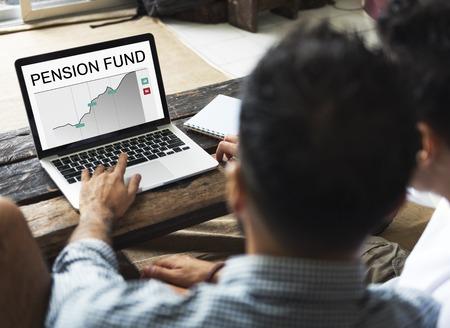Pensioenfonds Pensioen Grafiek Concept Stockfoto - 81949316
