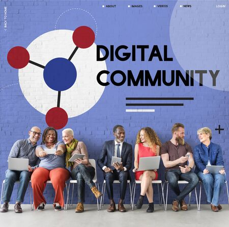 Group of people connected with social network online community Banco de Imagens