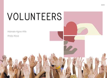 慈善寄付キャンペーン イラストと人間の手 写真素材