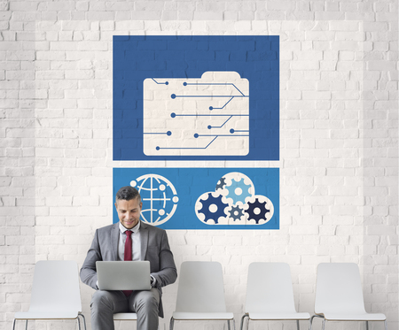 Network connection graphic overlay background billboard on wall Stock Photo
