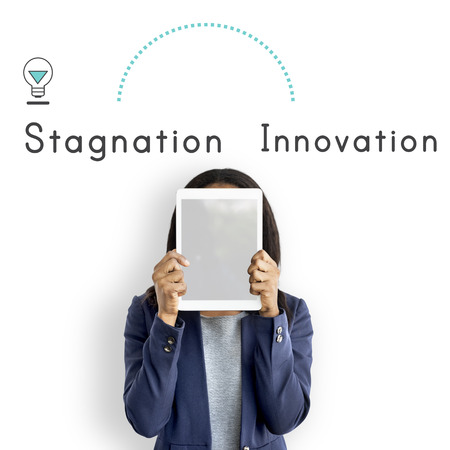 Antonym Opposite Future Past Stagnation Innovation Stock Photo