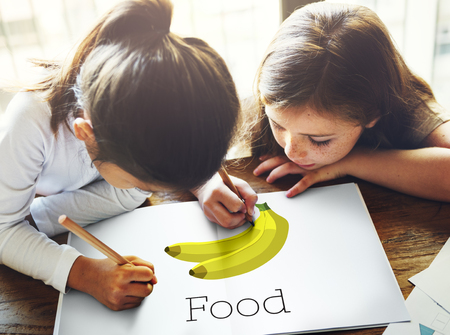 Children with illustration of fresh organic delicious banana Stok Fotoğraf