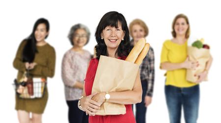 Diversity Women Comprar Food Supermarket Studio Isolated