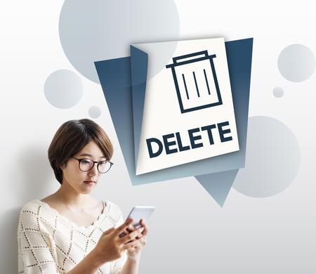 Illustratie van vuilnisbak vuilnis verwijderen verwijderen Stockfoto