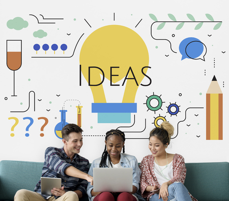 techie: Students with Illustration of creativity ideas light bulb Stock Photo