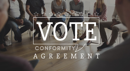 Vote agreement conformity team sitting talking