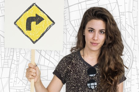 the roadside: Woman holding network graphic overlay banner
