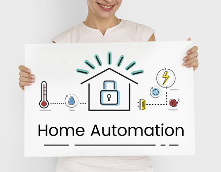 Woman holding illustration of smart house invention automation technology banner Фото со стока
