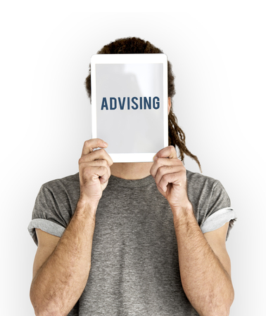 Advising overlay word young people Stock Photo