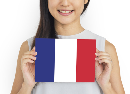 Woman Hands Hold French France Flag Patriotism