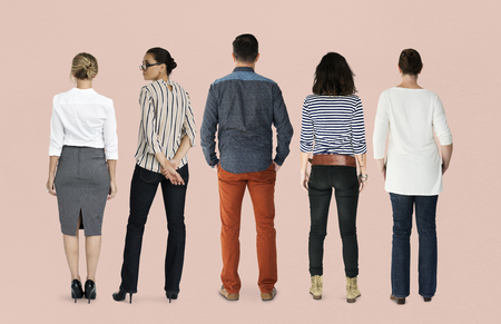Group of Diverse People Turn Back Side Set Studio Isolated