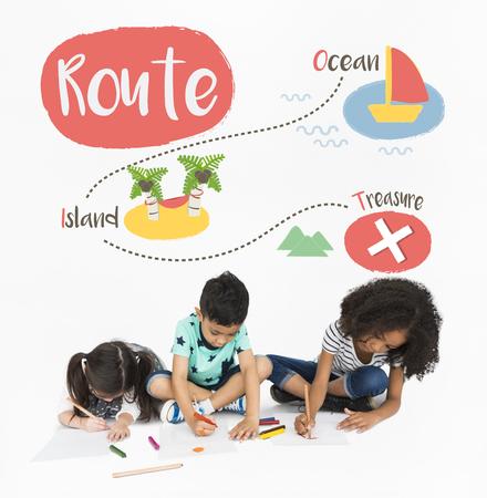 Kids playing treasure hunt graphic