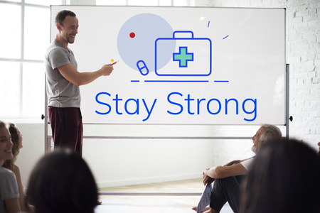 Stay Strong First Aid Box Word Graphic Stock Photo